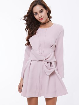 Ericdress Plain Lace-Up A-Line Round Neck Casual Dress
