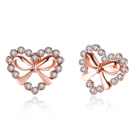 Ericdress Bow Heart Shaped Stud Earrings