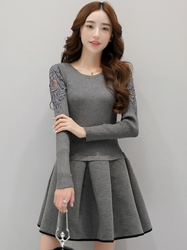 Ericdress Solid Color Patchwork Knitted Pleated Casual Dress