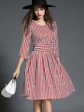 Ericdress Autumn Stripe Cinched Casual Dress