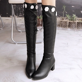 Ericdress Pretty Flower Decorated Knee High Boots