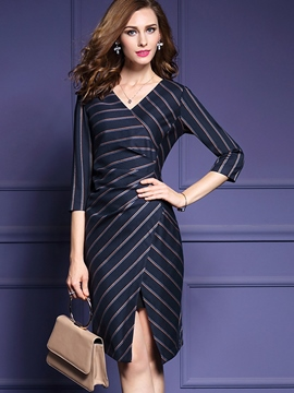 Ericdress Autumn Stripe Split Bodycon Dress