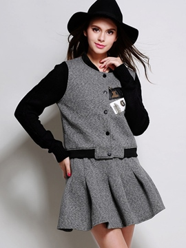 Ericdress Baseball Jacket Two-Piece Suit