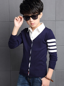 Ericdress Knitting Strip Patchwork Collarless Cardigan Boys Top