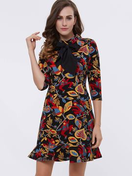 Ericdress Leaf Print Lace-Up Three-Quarter Sleeve Casual Dress