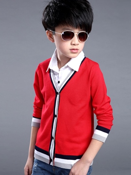 Ericdress Knitting Shirt Collar Patch Striped Edge Boys Top