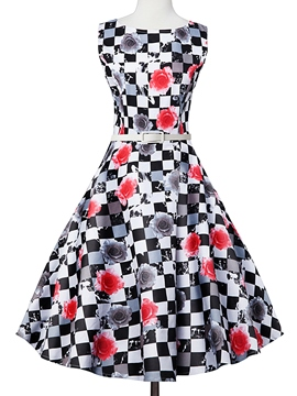 Ericdress Vintage A-Line Plaid Sleeveless Summer Casual Dress
