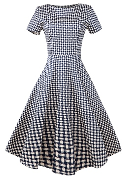 Ericdress Vintage A-Line Plaid Short Sleeve Summer Casual Dress