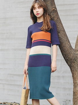 Ericdress Color Block Short Sleeve Sweater Dress