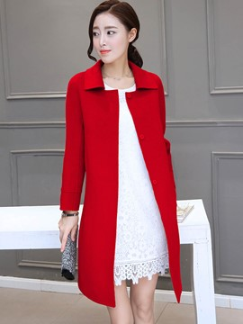 Ericdress Solid Color Turn-Down Straight Coat
