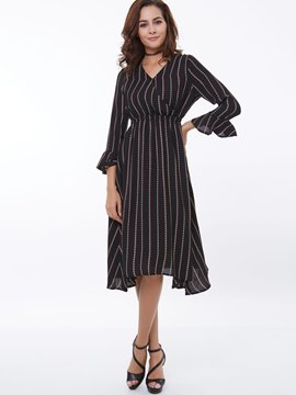 Ericdress Stripe Asymmetric V-Neck Casual Dress