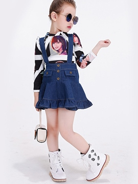 Ericdress Cross-laminated Elastic Print Two-Piece Girls Outfit
