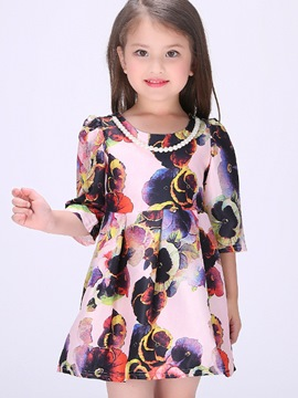 Ericdress Necklace Mixed-Print Printing Ink Girls Dress