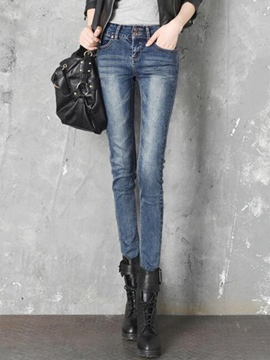 Ericdress Simple Two-Button Worn Jeans