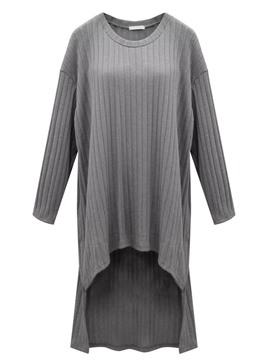 Ericdress Solid Color Asymmetric Round Neck Long Sleeve Casual Dress