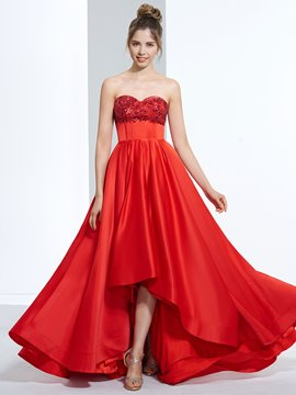 Ericdress A-Line Sweetheart Appliques Sequins Asymmetry Sweep Train Prom Dress