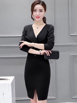 Ericdress OL Style Solid Color Lapel Bodycon Dress
