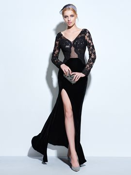 Ericdress Long Sleeve Slit Front Floor Length Lace Evening Dress