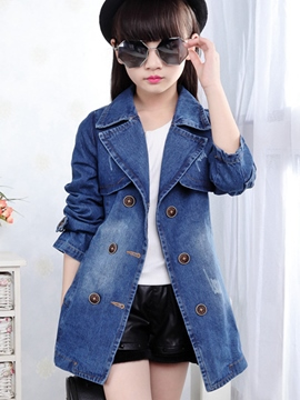 Ericdress Large Lapel Collar Double-Breasted Denim Belt Girls Outerwears