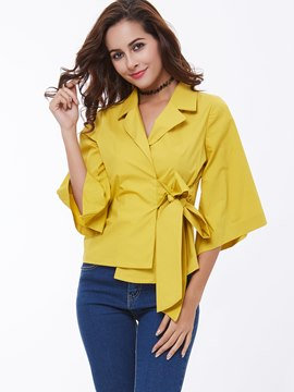 Ericdress Tie Bow Front Asymmetric Lapel Blouse