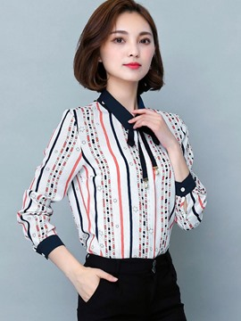 Ericdress Stripped Polka Dots Slim Blouse