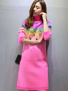Ericdress Autumn Color Block Long Sleeve Straight Sweater Dress