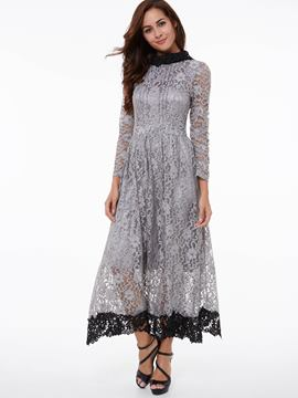 Ericdress Color Block Long Sleeve Lace Dress