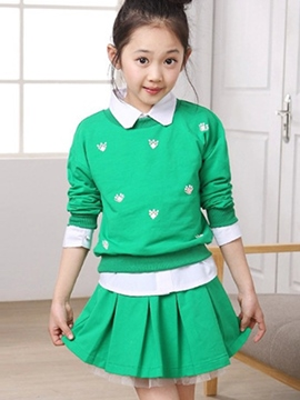 Ericdress Print Lapel Collar Pleated Three-Piece Girls Outfit