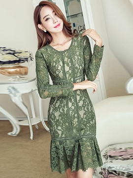 Ericdress Solid Color Long Sleeve Mermaid Lace Dress