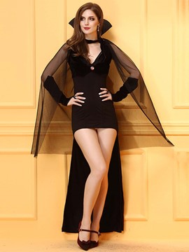 Ericdress Black Asymmetrical Sexy Dress Witch Cosplay Halloween Costume
