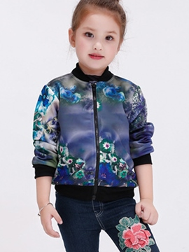 Ericdress Thread Patchwork Personality Printing Zipper Girls Outerwears