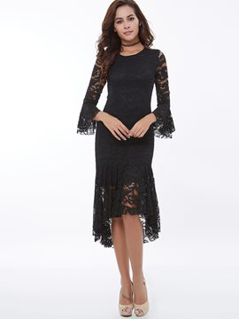 Ericdress Plain Asymmetric Flare Sleeve Lace Dress