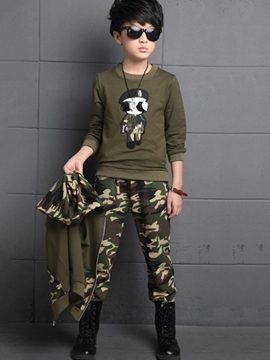 Ericdress Camo Patchwork Hooded Three-Piece Boys Outfits