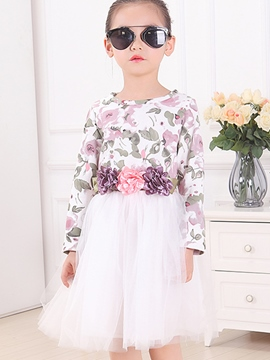 Ericdress Dimensional Flowers Patchwork Floral Printed Mesh Pleated Girls Dress
