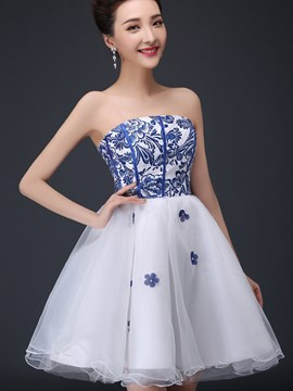 Ericdress A-Line Strapless Beaded Short Homecoming Dress