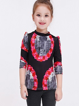 Ericdress Color Block Print Pleated Sleeve Patchwork Girls Tops