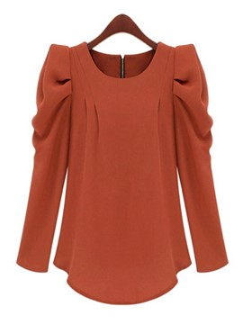 Ericdress Solid Color Pleated T-Shirt