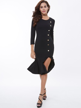 Ericdress Solid Color Patchwork Mermaid Sheath Dress