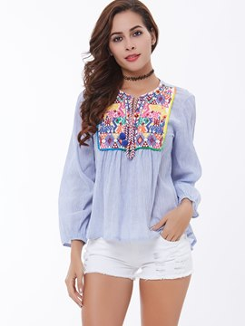Ericdress Geometric Print Pleated Ethnic Blouse