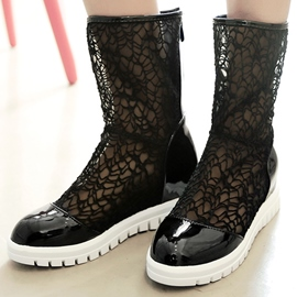 Ericdress Lace Patchwork Cut Out Flat Boots