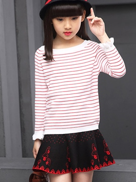 Ericdress Knitting Falbala Cuffs Pinstripe Girls Top