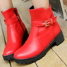 Ericdress Sweet PU Round Toe Ankle Boots