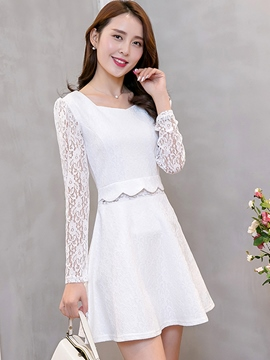 Ericdress U-Neck Lace Patchwork Solid Color Casual Dress