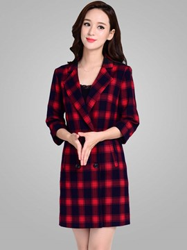 Ericdress Slim Plaid Polo Trench Coat