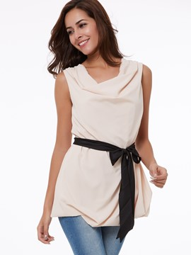 Ericdress Color Block Lace-Up Heap Vest
