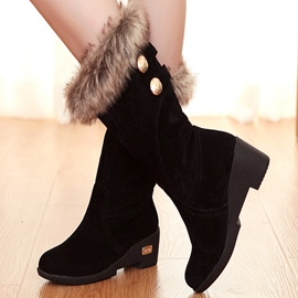 Ericdress Suede Furry Knee High Boots