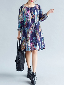 Ericdress Dye Print Ethic Long Sleeve Casual Dress