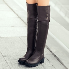 Ericdress PU Studded Knight Knee High Boots