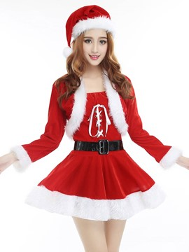 Ericdress with Belt Short Skirt Cute Santa Cosplay Christmas Costume