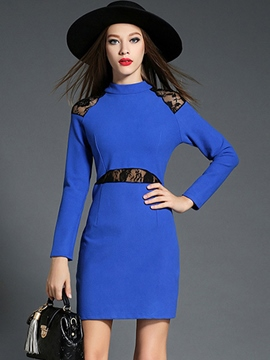 Ericdress Lace Patchwork Long Sleeve Stand Collar Bodycon Dress
